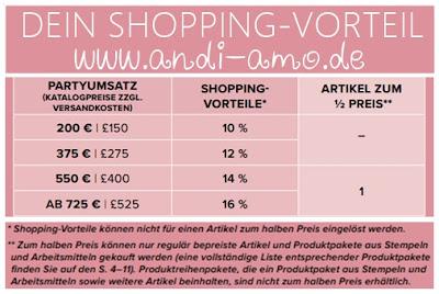Stampin Up Shopping-Vorteile für Gastgeberinnen