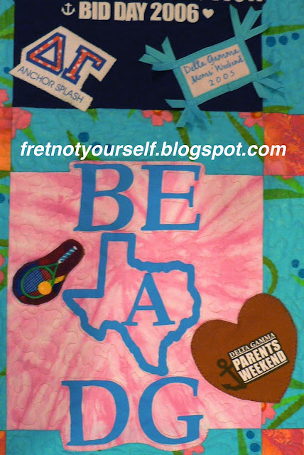 Appliques of pocket logos and novelty prints add character to a T-Shirt quilt.