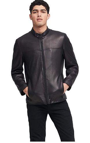 DKNY Men's Leather Modern Racer Jacket