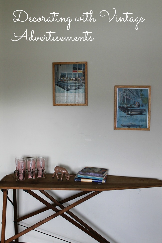 retro style home decor with vintage advertisements, old ironing board, 1950s pink barware and vintage deer figurine