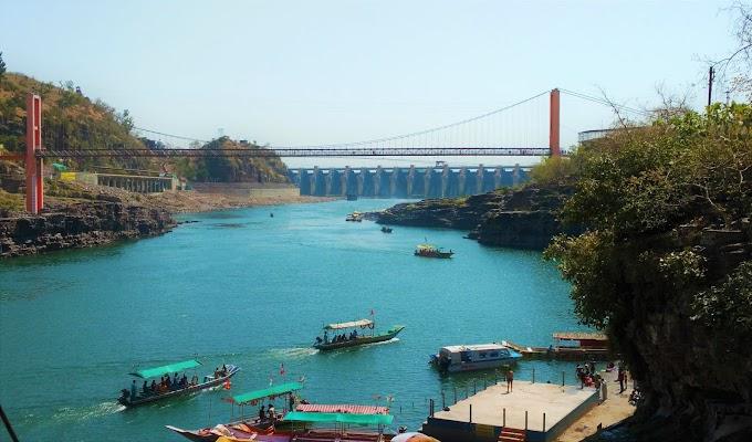 Blue Narmada river at Omkareshwar