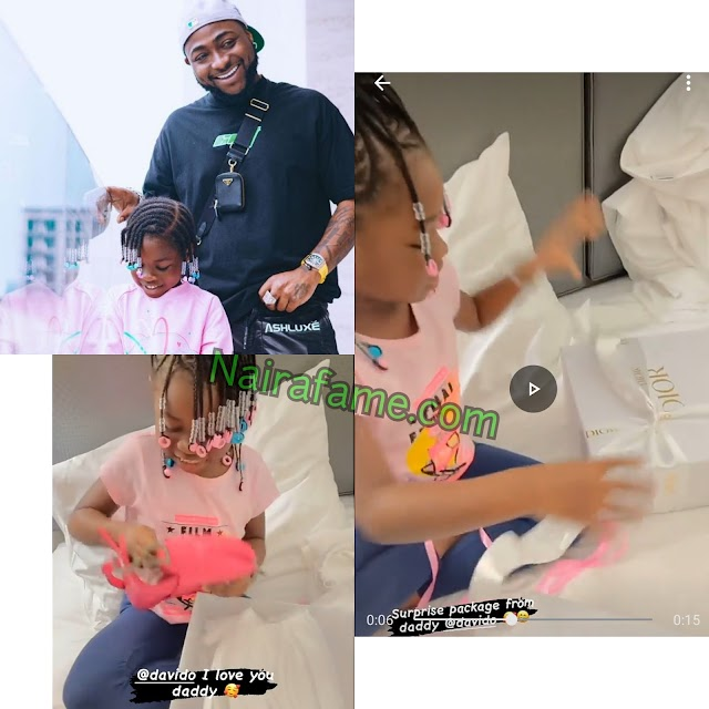 Davido Surprises His Daughter, Imade With Dior Saddle Bag Worth Over N1.5Million. VIDEO