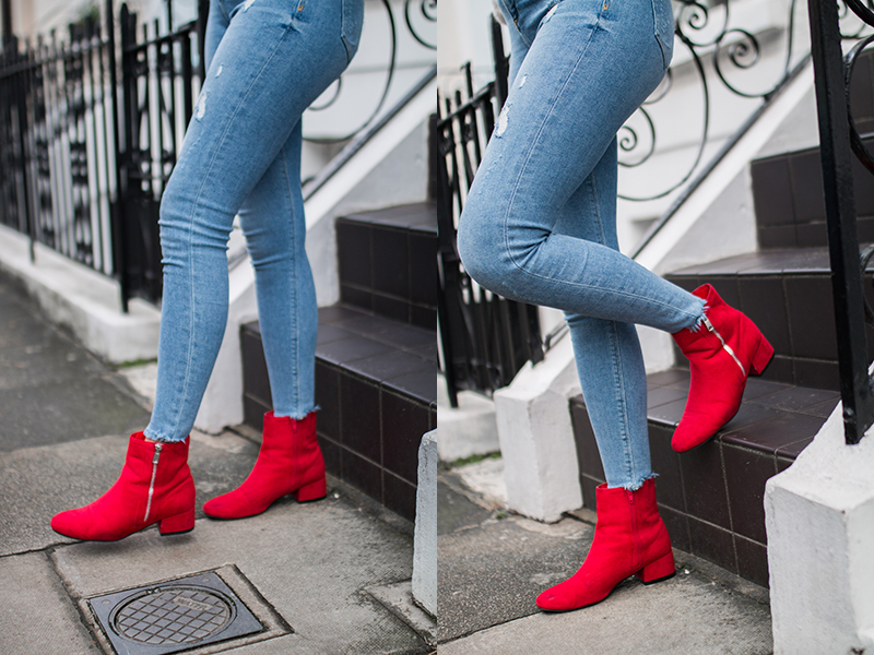 Red Boots - Stepping Out Of Your Comfort Zone - Injecting Colour Into Your Wardrobe // Lauren Rose Style Blogger London OOTD FASHION TREND STREET STYLE