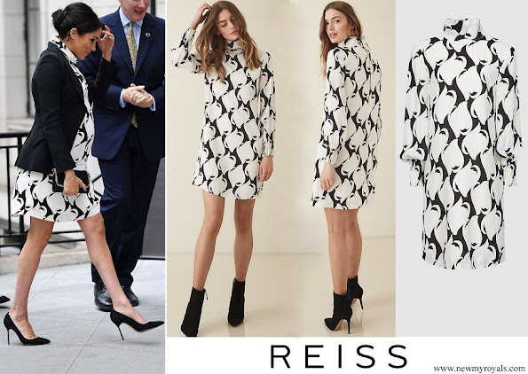 Meghan Markle wore REISS Azzura swirl printed shift dress