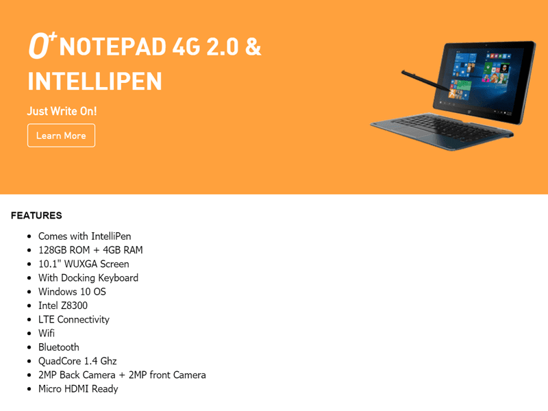 O+ Notepad 4G 2.0 announced