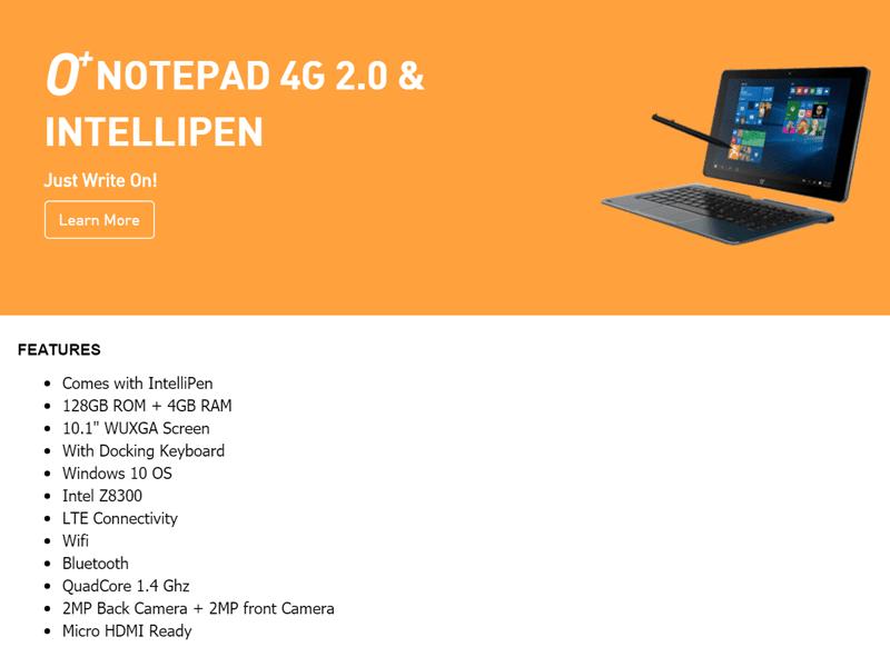 O+ Notepad 4G 2.0 announced