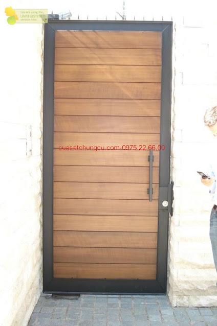 Cửa sắt chung cư 1 cánh kết hợp gỗ
