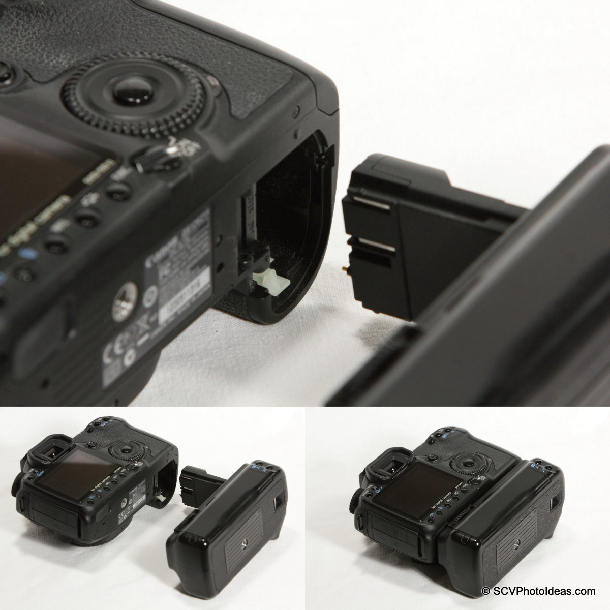 Canon BG-E2N Battery Grip mounting sequence