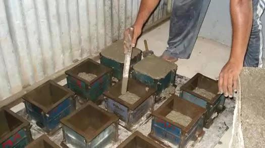 concrete cube filling