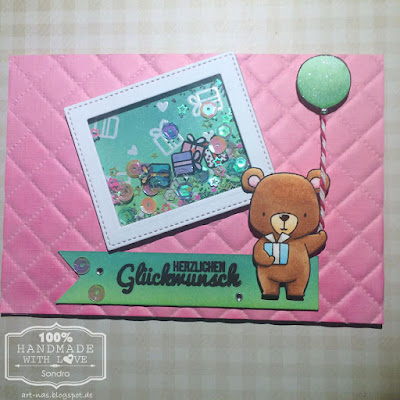 MFT Beary Special Birthday Shaker card mit Klartext Stempel, WRMK Next Level Embossing Folder Quilted und Wink of Stella