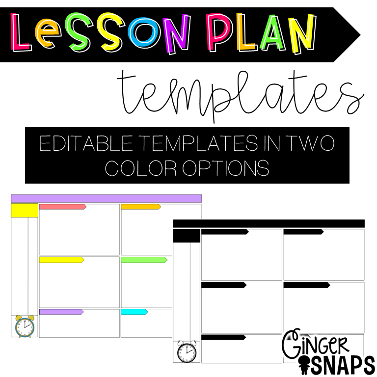 Ginger Snaps Editable Lesson Plan Template Freebie