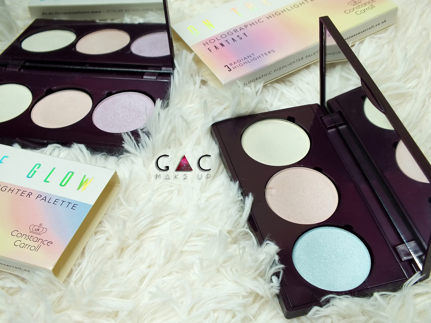 constance carroll on the glow holographic highlighter palette
