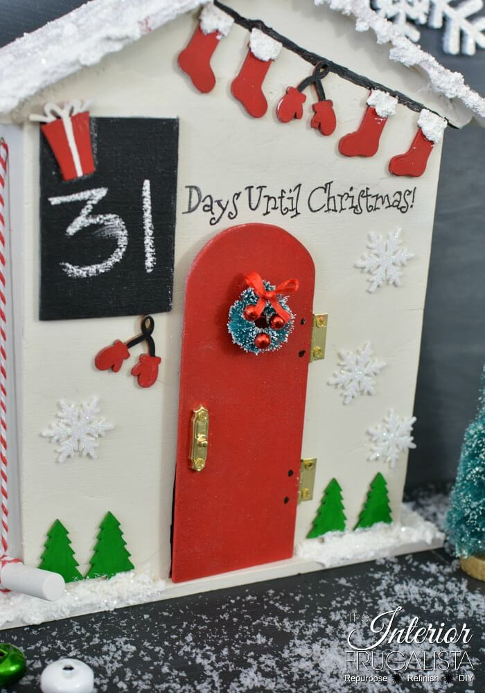 Christmas Countdown Santa Cottage Chalkboard Window