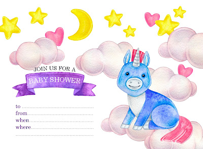 free unicorn baby shower invitations