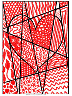 Student drawing of a valentine heart design with pattern