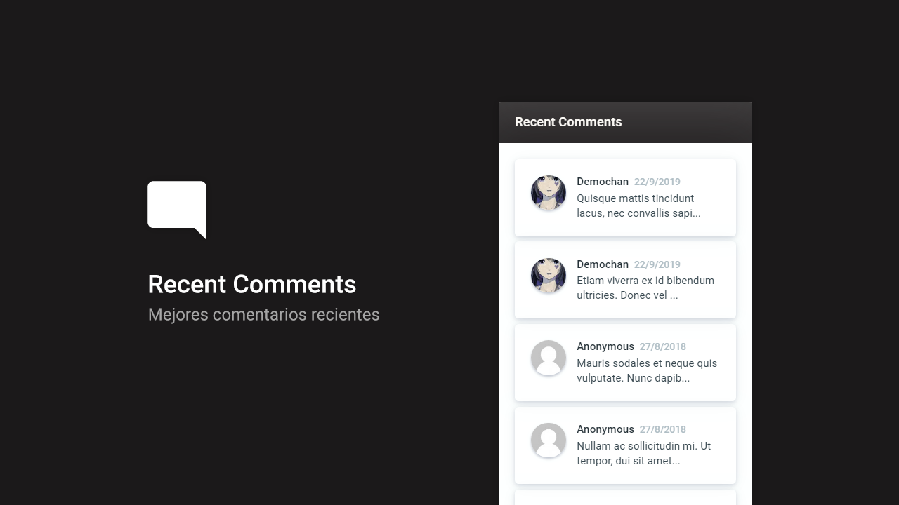 Recent Comments for Blogger