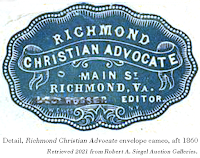 Image, Richmond Christian Advocate envelope cameo (detail), aft 1860. Retrieved 2021 from Robert A. Siegel Auction Galleries.