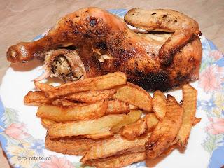 Friptura de pui la cuptor reteta carne de pasare cu sos de bere si cartofi prajiti retete culinare fripturi mancaruri preparate,