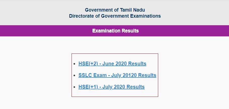 TN State Board 12th Result 2020 - tnresults.nic.iin