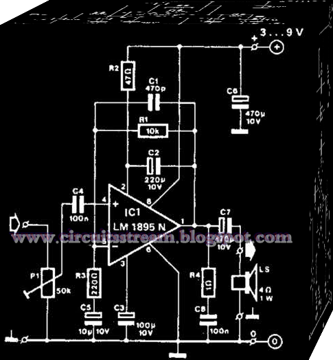Using Lm1895N Mini Amplifier Circuit Diagram