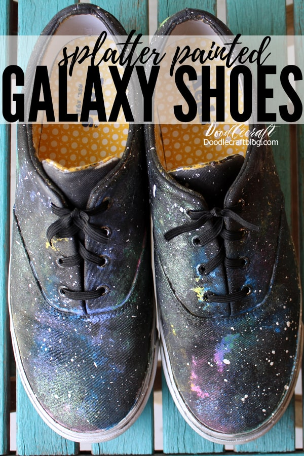 Paint some shoes to celebrate the 50th anniversary of the lunar landing on July 20th, 1969! These shoes are out of this world and look amazing. Painting shoes is simple and is a great way of upcycling old shoes with scuffs or stains.