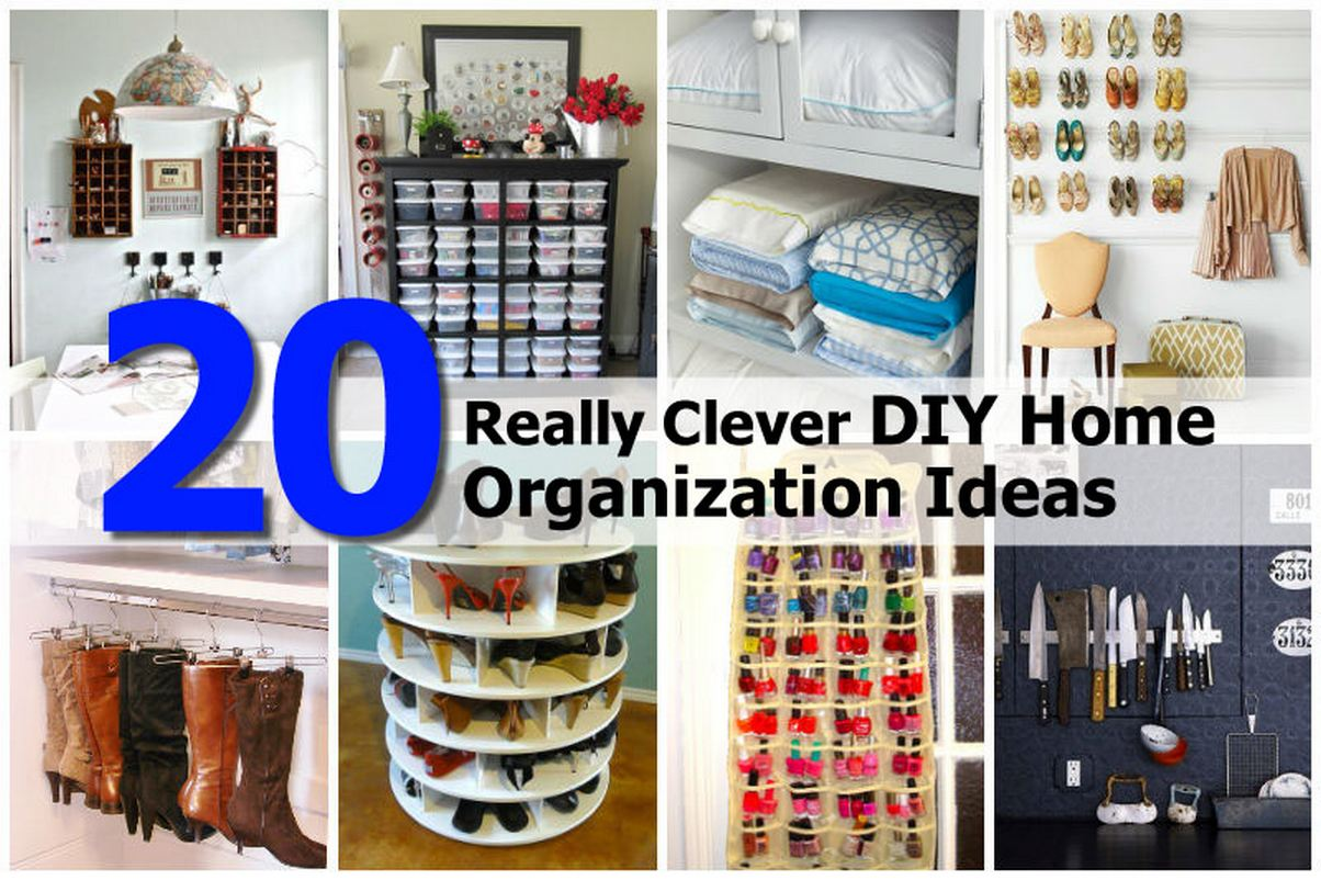20 clever diy home organization ideas idees and solutions. Black Bedroom Furniture Sets. Home Design Ideas