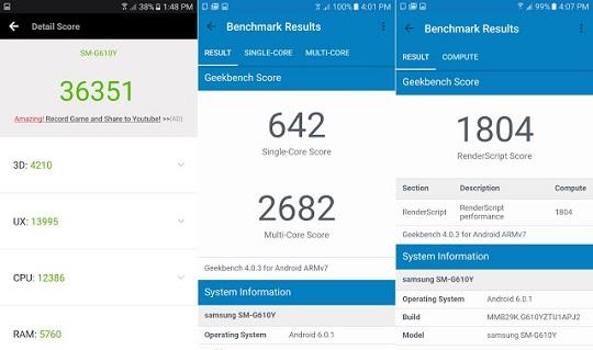 Samsung Galaxy J7 Prime Benchmark Scores