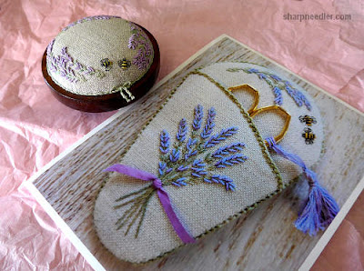 Completed Lorna Bateman embroidered lavender and bees pincushion with photos of newly released coordinating scissors keeper