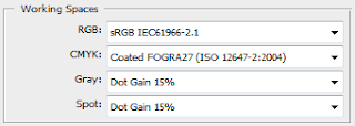 Dot gain settings in Photoshop.