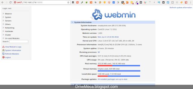DriveMeca instalando Webmin en Linux Centos paso a paso