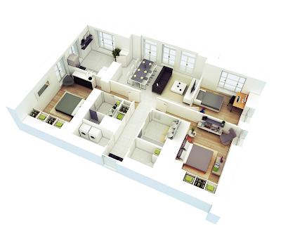 Denah rumah minimalis 3D