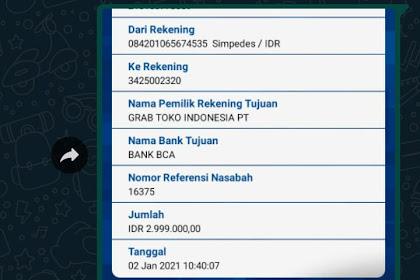 Bukti Transfer & Bukti Chat CS grabtoko.com Dengan Korban - A.N Holil Dari Bekasi