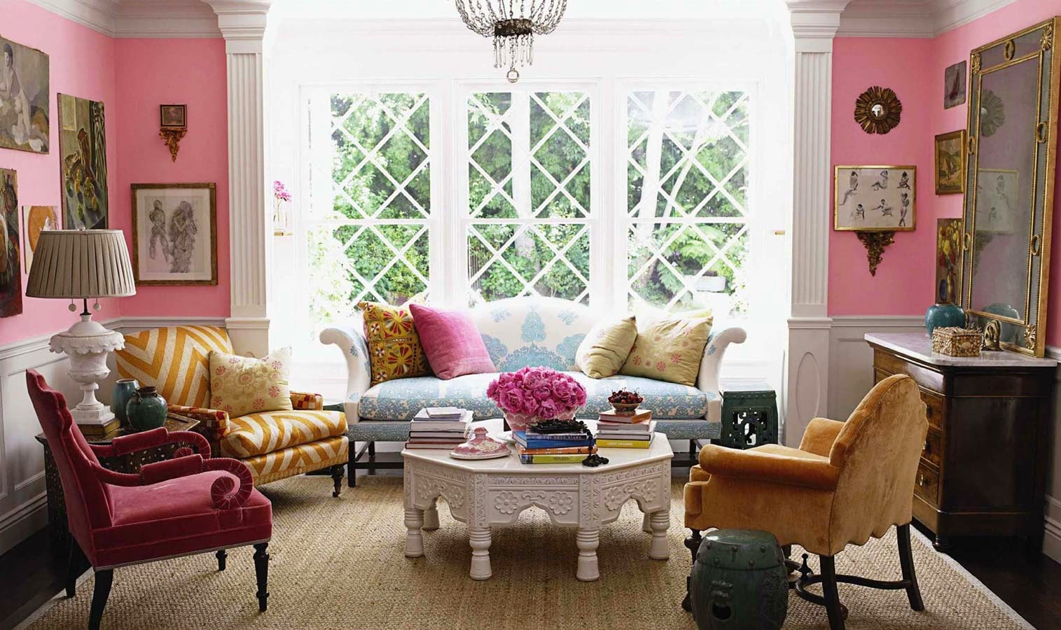 This preppy eclectic room is playful colorful and has the books associated with ivy league preppy it is classic yet incorporates mid century touches