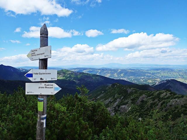 Przełęcz między Kopami - tu schodzą się szlaki przez Boczań i Jaworzynkę