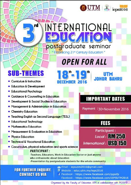 3rd International Education Postgraduate Seminar UTM 2016