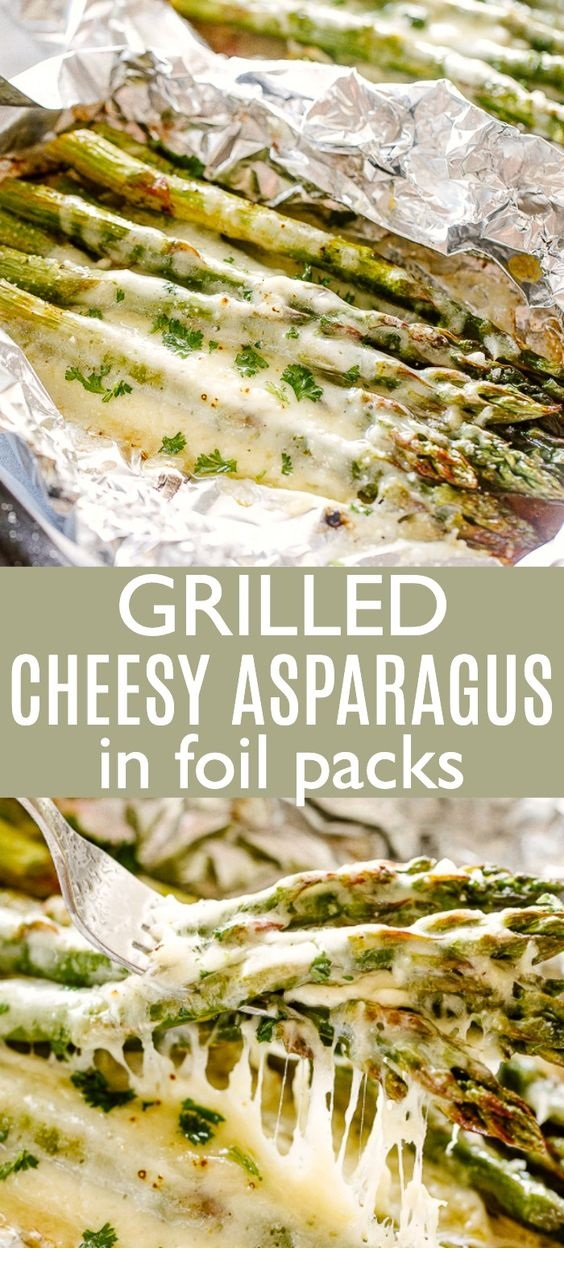 Cheesy Grilled Asparagus in Foil Packs