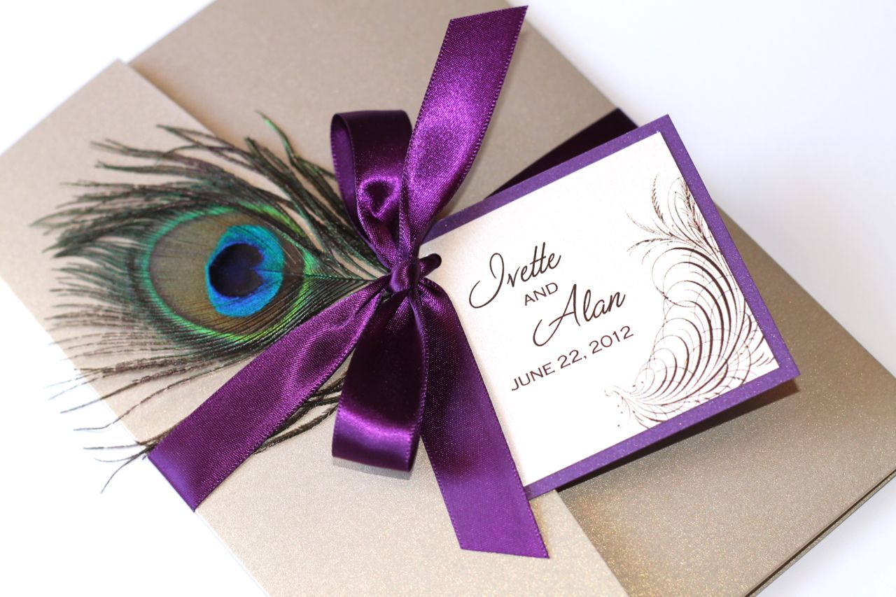 Wedding Invitations With Purple Ribbon: Embellished Paperie: Peacock Purple And Gold Wedding