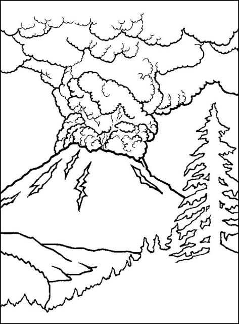 Gambar Mewarnai Gunung Merapi - 4