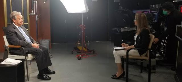 El Secretario General de la ONU, António Guterres, en entrevista con May Yaacoub, de Noticias ONU