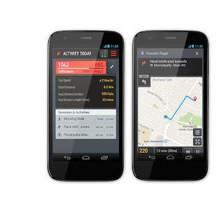 lechal phone app showing steps taken, distance walked, calories burned etc.