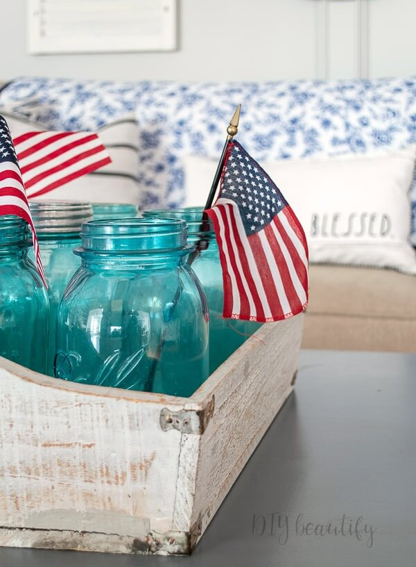 mason jars in wood crate