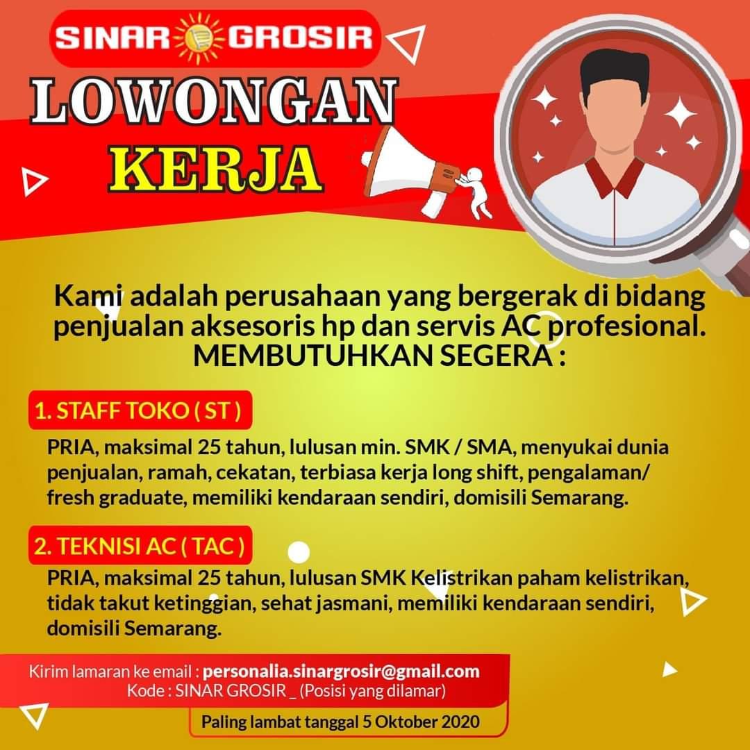 Sinar Grosir Semarang Membuka Loker Staff Toko & Teknisi AC