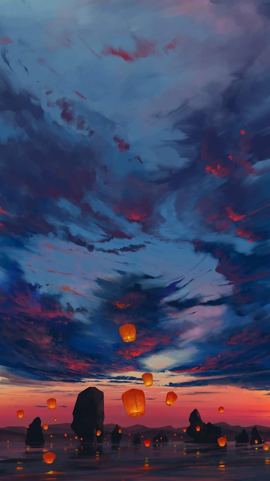 Lantern in the sunset wallpaper
