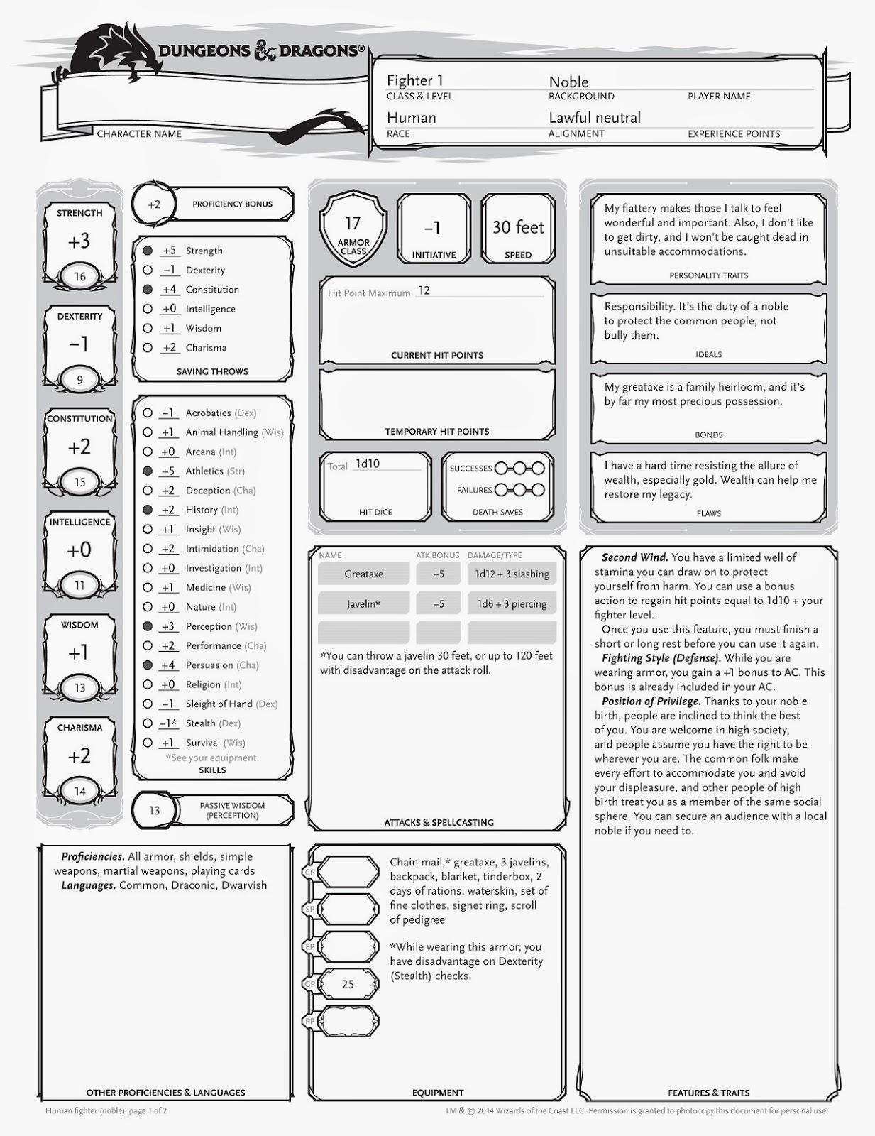 Venger S Old School Gaming Blog D Amp D 5e Character Sheet