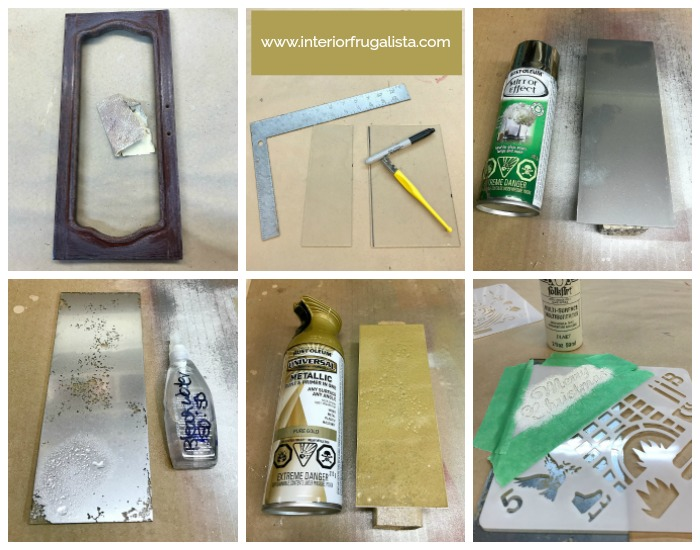 Repurposed Christmas Door Ornament DIY Antiqued Mirror Glass