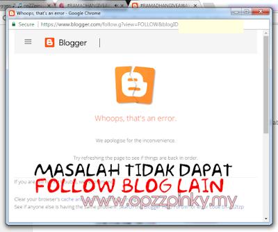 Selesaikan Masalah Tidak Dapat Follow Blog Lain