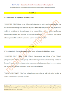 board resolution for execution of indemnity bond