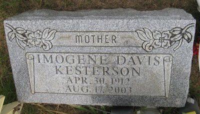 Tombstone of Imogene Davis Kesterson 1912-2003, Virginia