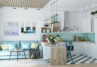 Scandinavian kitchen with tiffany blue tile kitchen backsplash
