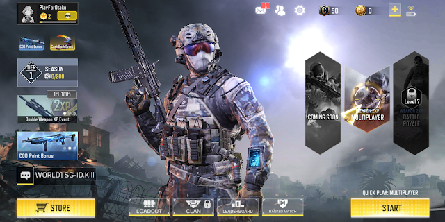 Call of Duty main screen of the game